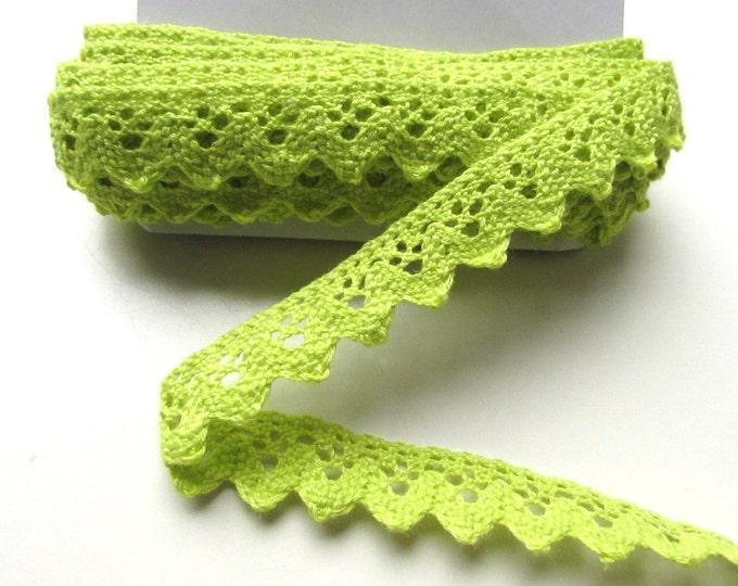 "2.5 yds Lime green crochet trim - Ric rac green trim 1"" inch  25 cm. Neon green cotton trim - Crochet trimming"