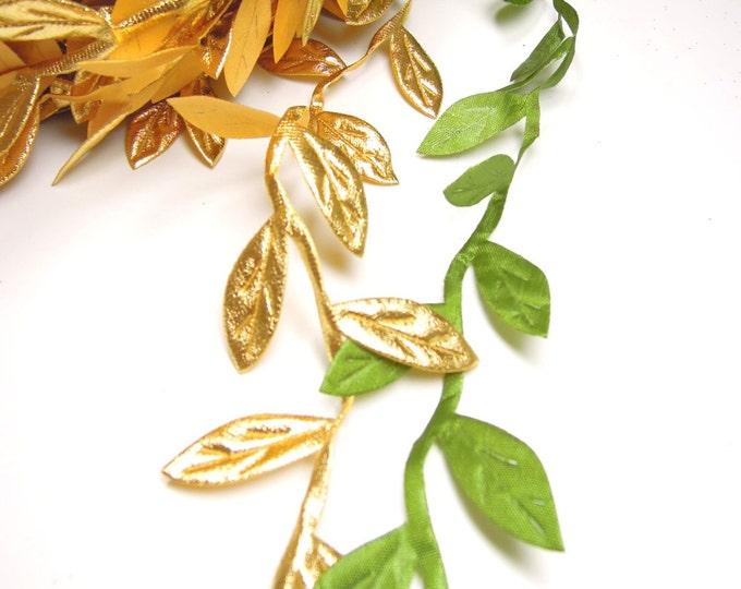 3 yds leaf ribbon for crafts  Gold leaf ribbon  Green leaves ribbon  Green leaf vine garland ribbon  Leaves lace ribbon  Leaf ribbon