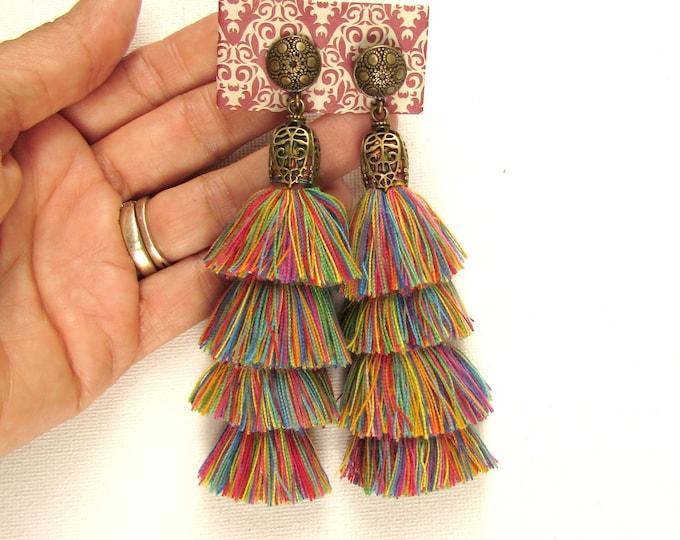 Boho chandelier tassel earrings, Stacked tassel earrings with bronze findings, Chandelier earrings, Multi-color layered tassel earrings