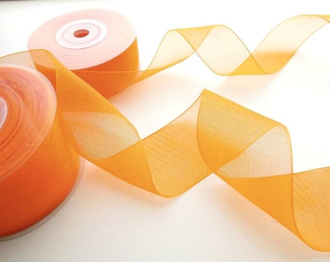 10 yds Organza ribbon. Orange organza ribbon. Sheer organza ribbon reel. Sheer blue ribbon, Pink organza ribbon