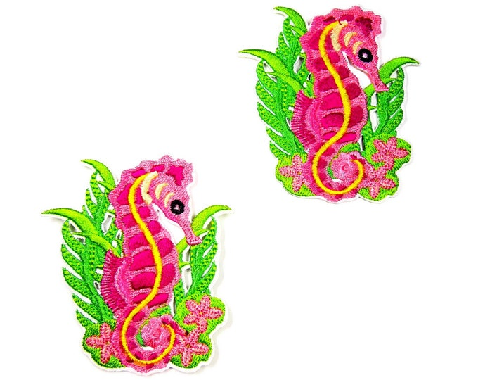 Seahorse iron on patch - Sea horse iron patch - Embroidered Seahorse patch - Pink seahorse patch - Mermaid's friend - Pink iron patches