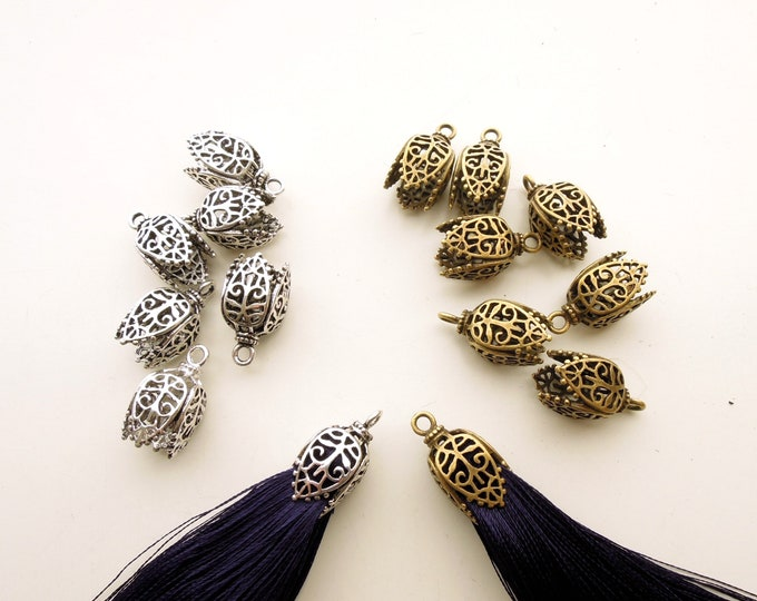2pc Tassel caps  1cm bead caps for tassel earrings  Filigree tassel end caps  Tribal tassel cap Large bead caps  Tassel pendant bead cones