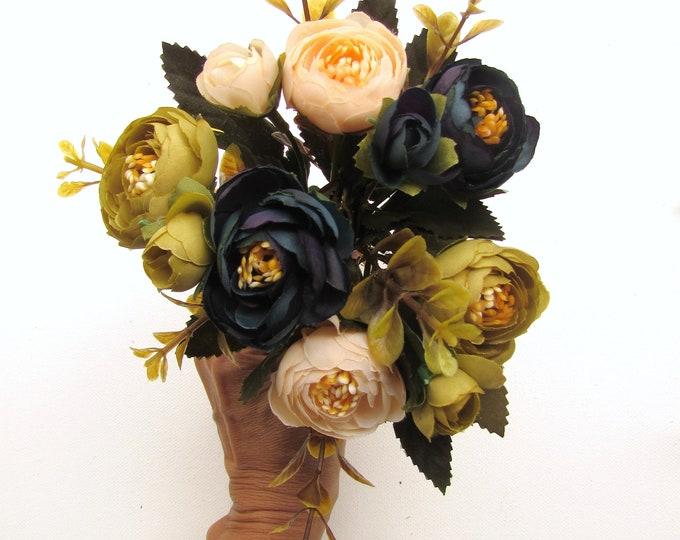 Artificial Ranunculus 6pcs autumn colors with foliage, DIY faux flower bouquet, Blue, Cream and Blue fake flowers, Ranunculus flower crafts