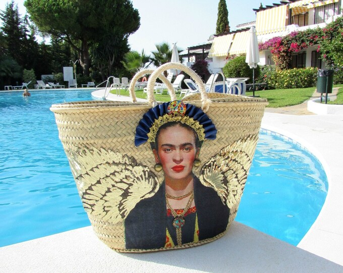 Frida Kahlo straw bag, French market basket, Viva la Frida beach basket, Handcrafted straw bag