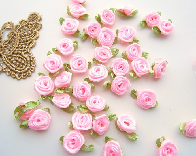 50 Small sew-on roses, Satin ribbon flowers, Handmade pink fabric roses, Small flower appliques