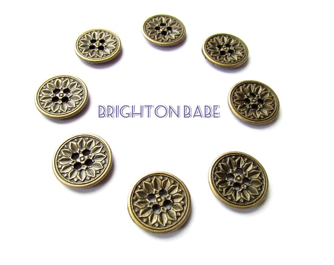 10 Metal brass buttons 15 mm,  Sunflower vintage style buttons, Metal sewing buttons bronze, Small metal sewing buttons,