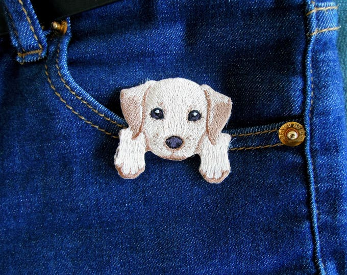 Puppy iron on patch Cute puppy iron on applique Labrador puppy iron on patch Chiguagua embroidered sew on iron on applique  Dog patches