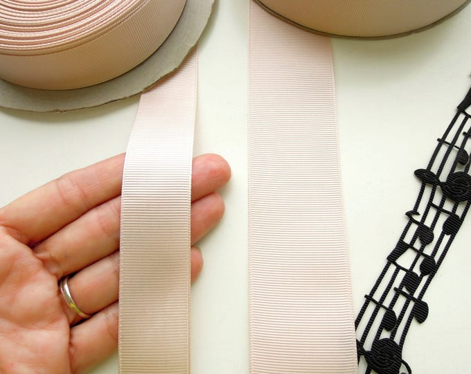 2 yds Tan grosgrain ribbon  Nude beige ribbon 25mm - 40mm  Bridal sash ribbon  Oat colour ribbon