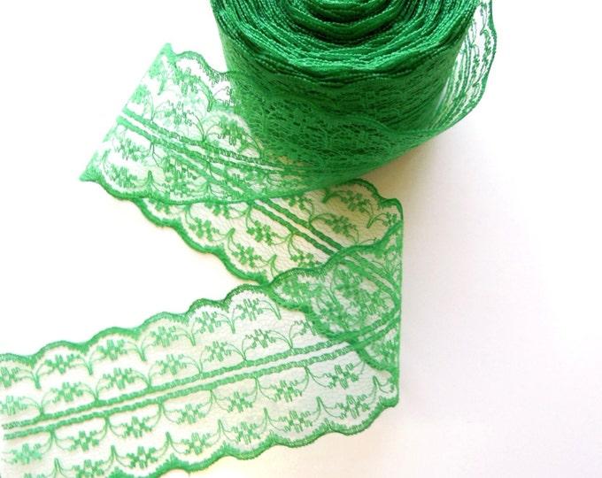 10 yds Green lace ribbon 45 mm, Emerald green burlap lace, Irish green ribbon, Shabby lace ribbon, Green lace ribbon, Green gift lace ribbon