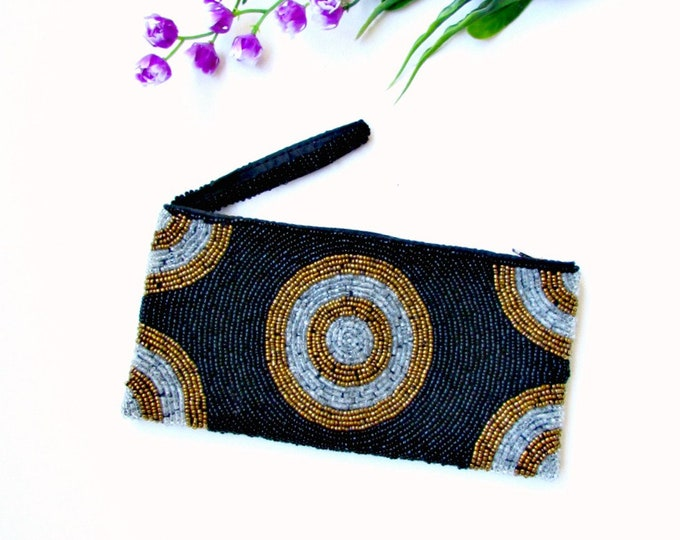 Hand Beaded Black Coin Purse, Beaded Small Clutch, Beaded Makeup Travel Pouch. Handmade in Bali