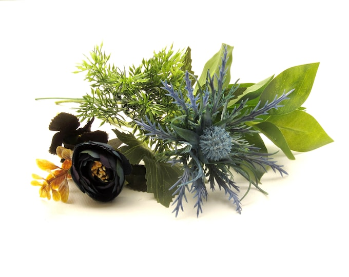 Artificial flowers mini bouquet 4 pc set, Sea Holly and blue ranunculus with greenery, Scottish sea holly and ranunculus with greenery