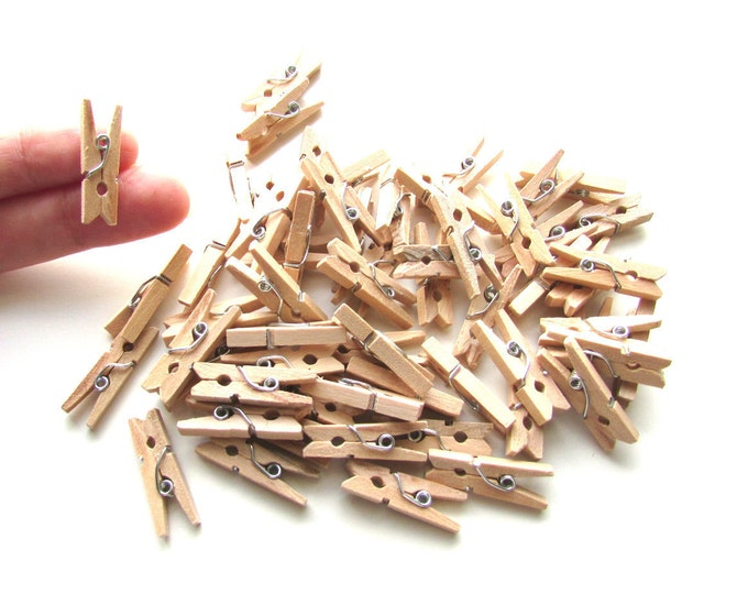 25 Mini pegs natural wood 25mm - Little wooden pegs memo clips - Mini wood clothespins - Little pegs - Wood mini clips - Small pegs wood