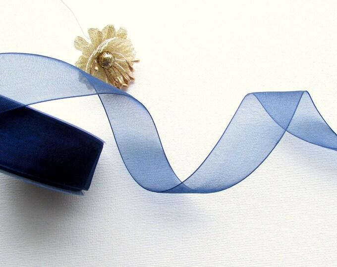 25 yrd Navy blue organza ribbon,  25mm blue sheer ribbon, Organza whole reel ribbon
