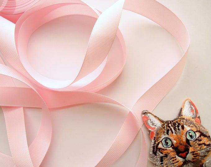 5 yds Pink ribbon 18 mm, Pastel pink grosgrain ribbon, Blush pink ribbon wholesale, Solid pink grosgrain ribbon