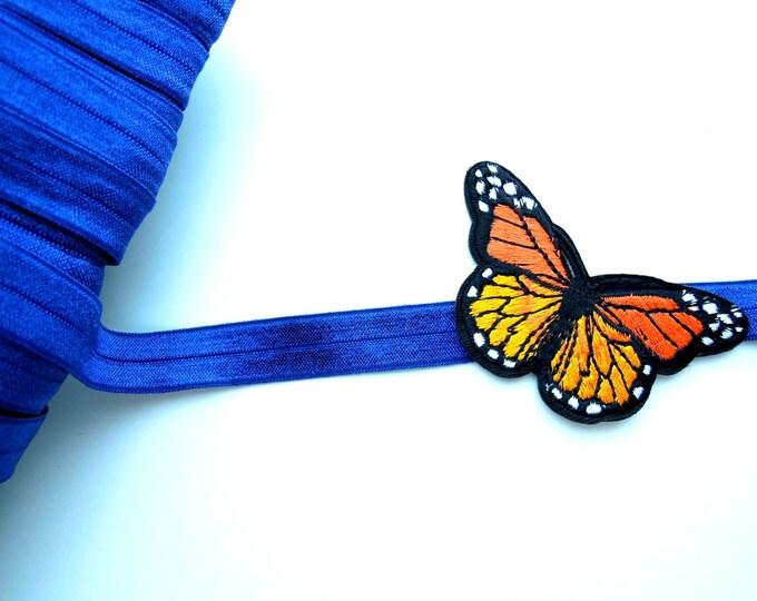 3 yds Blue FOE - Blue soft elastic 5/8 inch - Royal blue fold over elastic - Blue headband hair ties elastic