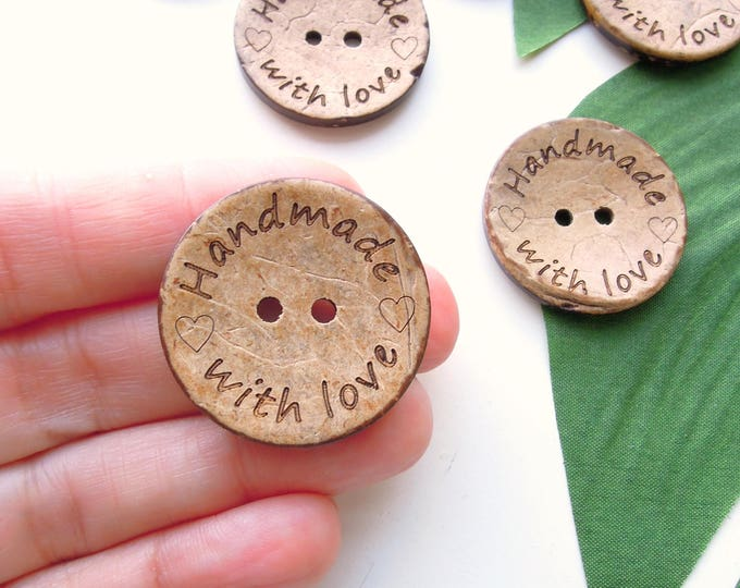 8 Handmade with Love 30 mm Large Buttons  Coconut Shell 3 cm Buttons for Handmade Knits  Crochet Handmade Buttons  Large Brown Wood Buttons