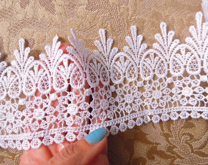 White lace 9.5 cm wide, Bridal trim, By the yard, Edging, Trimming, Lace crowns, Wedding dress,