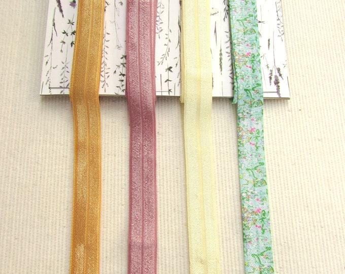 8 Yds Fold Over Elastic FOE Set, Soft Elastic Gift Pack, Soft Elastic for Hair Ties, Lingerie elastic, Baby Headband elastic kit