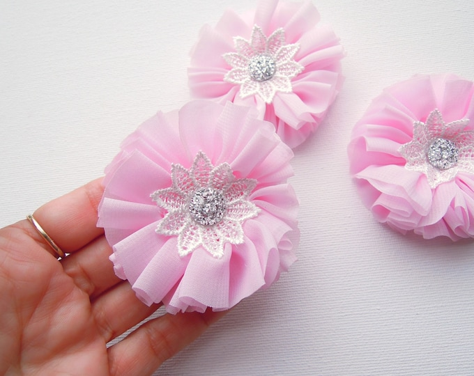 Set 3 Fabric flower appliques for baby headbands, PINK fabric flowers, Lace chiffon handmade flowers,