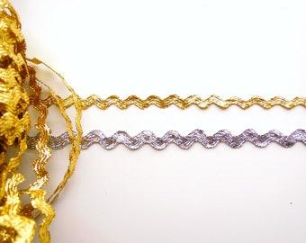 2.5 yds Gold or Silver Metallic Ric Rac Trim - Silver or Gold Zig zag trim, 6mm Gold ric rac trim, 8mm silver ric rack trim