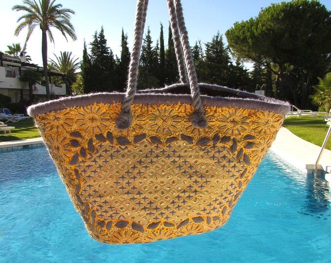 Grey Gold straw shoulder bag, Ibiza style bohemian beach basket, Ethnic beach bag embroidered by hand, Beach basket, Holiday shoulder bag
