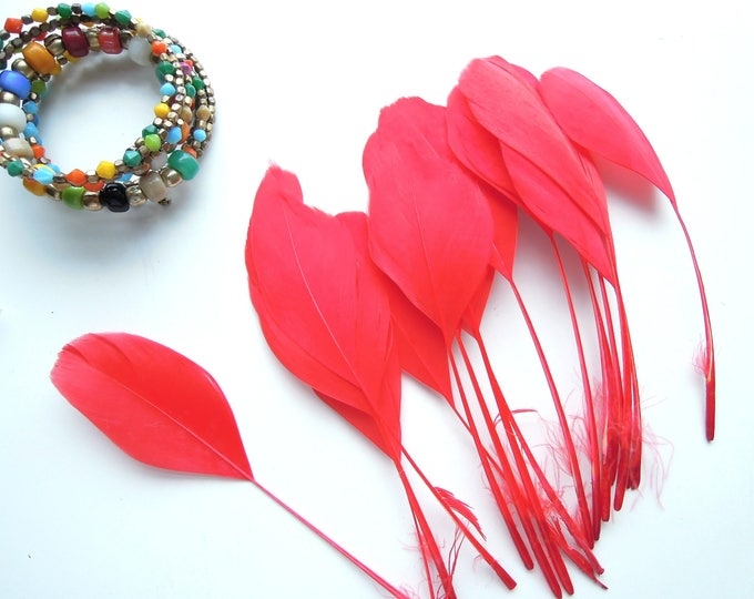 10 Red stripped coque tail feathers, Red feathers 10-15 cm, Trimmed red feathers, Red millinery feathers, Natural loose feathers