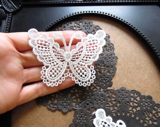 5 White lace butterfly appliques, Sew on butterflies, Lace appliques, Butterfly sew-on applique, Lace jewellery pendant, Lace embellishments