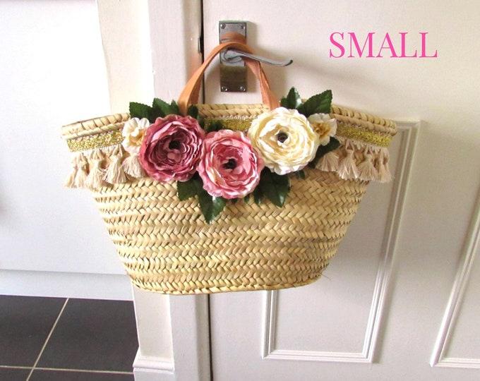 Peony flower basket, Pink peony farmhouse style straw bag, Small market bag, Farmhouse home decor basket, Cabbage rose wedding basket