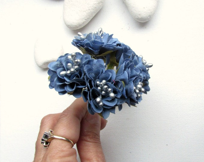 6 Small blue flowers  Artificial silk flowers  Small blue faux flowers  Small blue flowers with silver pips  Blue millinery flowers