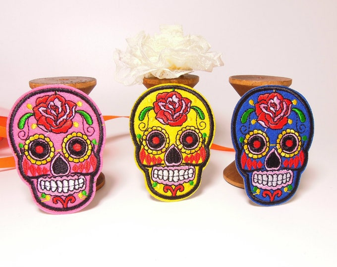 Mexican sugar skull iron-on patches - Skeleton Dia de los Muertos apliques - Sugar skull patches clothes, bagpacks - Skeleton patches