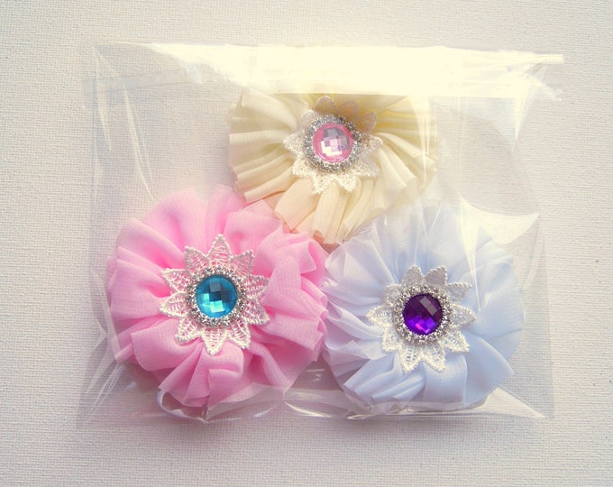 3 fabric flowers with rhinestone embellishments, Handmade chiffon flower appliques, Fabric flower set of 3 for baby headbands, brooches
