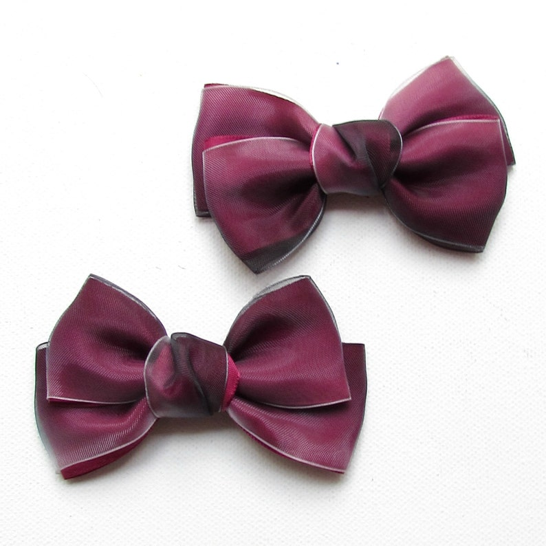 Set of 2 Double Satin & Organza Bows Knotted for Girl image 0