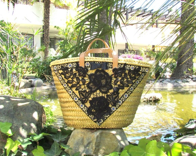 Straw tote bag, Small straw bag, Gold small market basket, Shopper straw summer bag, OOAK decorated small straw bag with leather handles