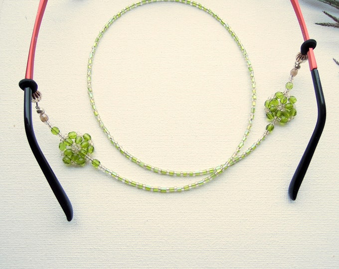 Reading glasses leash, Beaded specs cord, Glasses chain, Specs lanyard, Reading glass cord, Green beaded specs necklace
