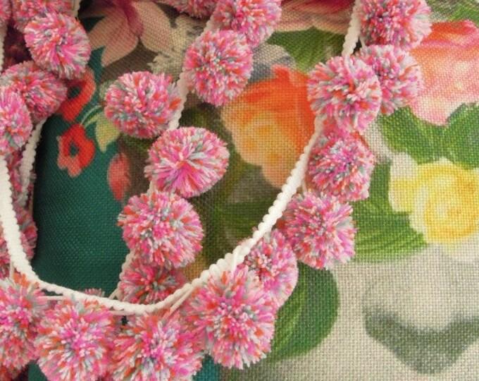 Large yarn pom pom trim 3cm  Large multicoloured pink bobble trim  Large ball pom fringe trim  Giant pink bobble cushion trim
