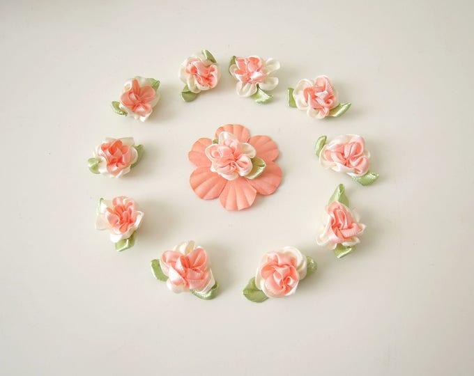 10 Peach ribbon roses, Small ribbon roses, Small fabric flowers, Flower appliques, Satin peach ribbon roses, French ribbon roses