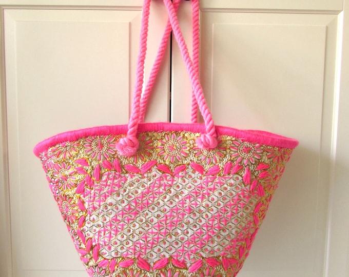 Pink Gold straw bag, Boho-Gypsy beach basket, Ethnic beach bag embroidered by hand, Straw beach basket, Summer shoulder bag