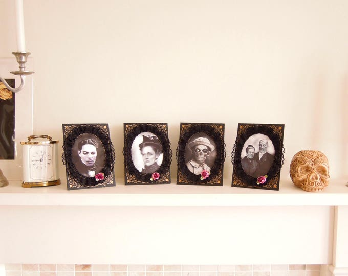 Holographic Victorian Zombie Portraits, Creepy Victorian Family Halloween Decor, Steampunk Creepy Victorian Portraits