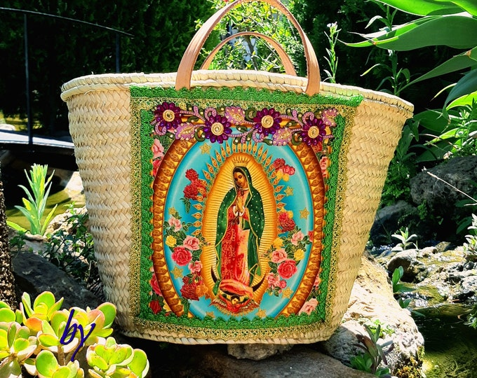 Large straw bag Mexican Lady of Guadalupe Woven market bag Virgin of Gudalupe bag Hand-decorated religious bag Straw beach bag