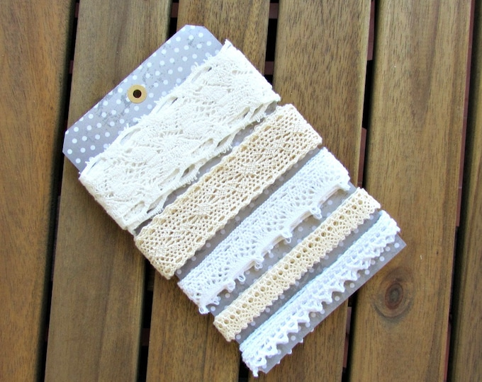 5 yds Cotton lace remnants 5 x 1 yds  Mixed media vintage style lace snippets  Shabby chic cream cotton crochet lace mix