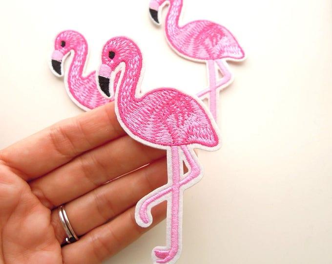 Pink flamingo iron on patch - Flamingo iron on applique - Iron on applique tropical bird - Embroidered sew and  iron ron on flamingo patch
