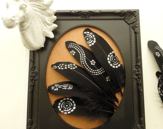 Silver hand painted black feathers  Metallic silver painted feathers  Black goose feathers for dreamcatchers Boho feather art