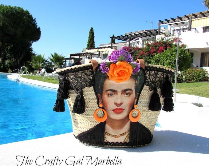 Frida Kahlo Flamenca straw bag  Shoulder straw bag  Woven shoulder basket  Handwoven and handecorated straw basket, Frida Kahlo bag