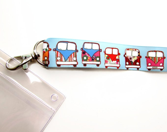 1 yard Blue grosgrain ribbon Hippie Mobil, VW camper ribbon  Badge ID lanyard ribbon Happy camper ribbon Retro camper 1 yard ribbon 25mm