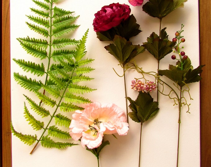 Artificial flower composition colour coordinated with green ferns, Faux flower arrangement, Silk flowers crimson pink, Fuchsia pink flowers