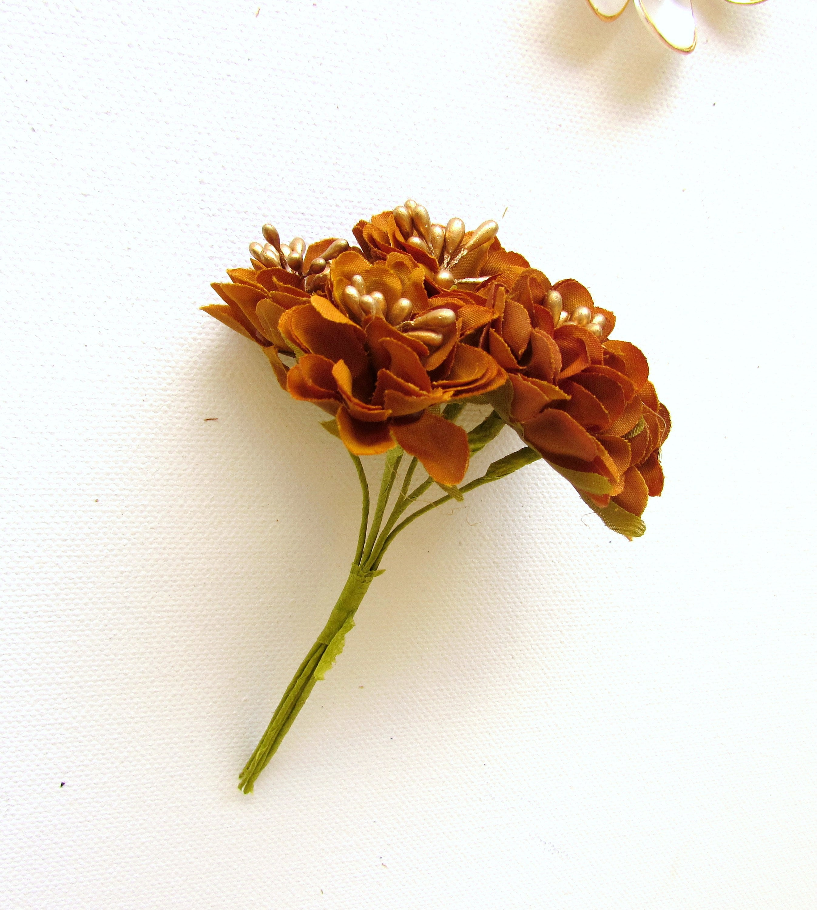 6 Small Bronze Brown Flowers Small Brown Silk Flowers Brown Faux