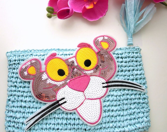Large Pink Panther iron on patch  Pink sequin iron on applique  Pink iron on denim patch  DIY custom denim jacket  DIY personalised jeans