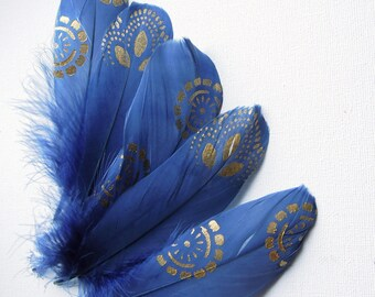 Blue gold painted feathers Painted feathers Blue gold feathers Blue gold stencilled feathers Gold painted blue feathers Boho feather art
