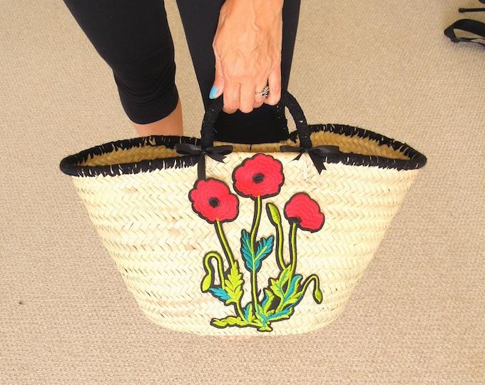Poppies straw bag  Poppies French market basket  Flower straw basket  Poppy flower woven straw bag  Poppies Handwoven storage basket