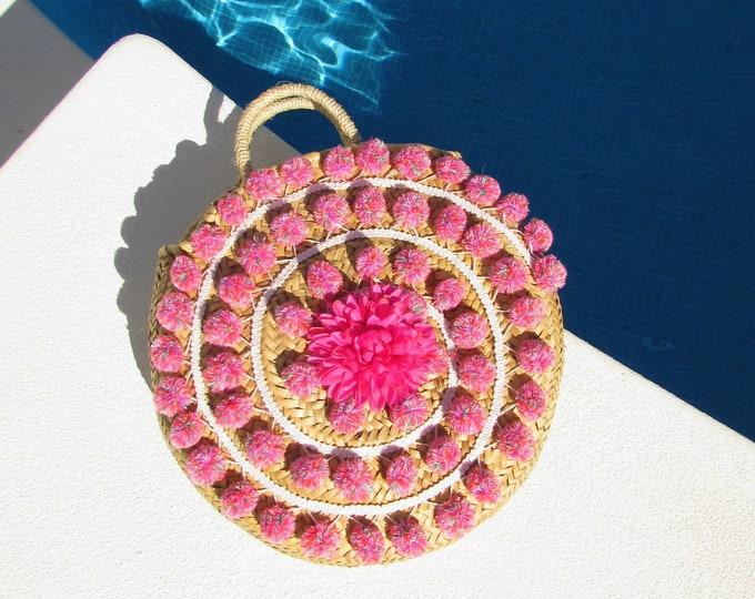Pom pom round straw bag  Large round basket  Beach woven straw basket  Pink pom pom market basket  Round handbag French straw bag round